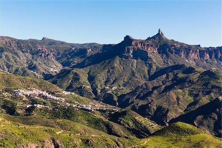rock - Mountain villages beneath Roque Nublo, Gran Canaria, Las Palmas, Canary Islands Stock Photo - Premium Royalty-Free, Code: 600-07849596