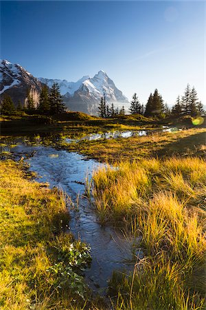 Alpine Lake and Mount Eiger at Sunset, Bernese Alps, Switzerland Stock Photo - Premium Royalty-Free, Code: 600-07853962