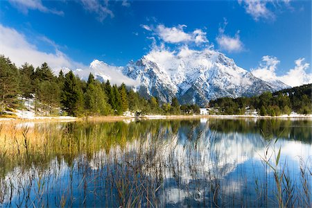 fall trees lake - Lake Luttensee in front of Karwendel with Early Snow in Autumn, Werdenfelser Land, Upper Bavaria, Germany Stock Photo - Premium Royalty-Free, Code: 600-07853972