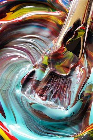 Close-up of paint swirls and brush Stock Photo - Premium Royalty-Free, Code: 600-07911206