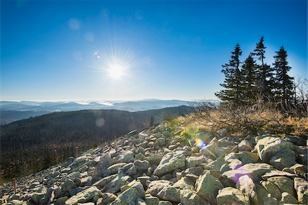 Scenic view of mountain top (Lusen) on a bright, sunny morning, Bavarian Forest National Park, Bavaria, Germany Stock Photo - Premium Royalty-Free, Code: 600-07911235