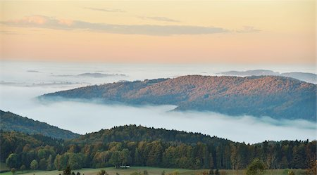 Scenic overview of hills on an early, autumn morning with fog, Bavarian Forest National Park, Bavaria, Germany Stock Photo - Premium Royalty-Free, Code: 600-07911269