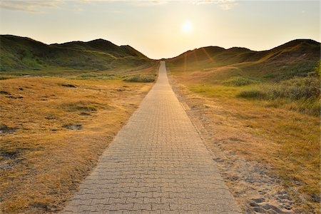 Dunes Path with Sun in Summer, Norderney, East Frisia Island, North Sea, Lower Saxony, Germany Stock Photo - Premium Royalty-Free, Code: 600-07945357