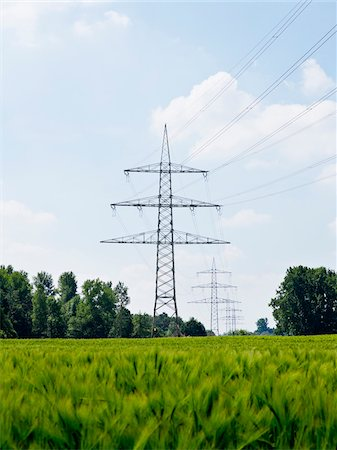 High-voltage Transmission Towers, North Rhine-Westphalia, Germany Stock Photo - Premium Royalty-Free, Code: 600-07965872