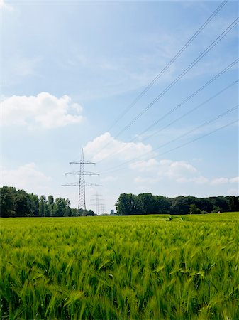 High-voltage Transmission Towers, North Rhine-Westphalia, Germany Stock Photo - Premium Royalty-Free, Code: 600-07965873