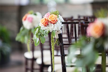 decorations - Flowers on Back of Chair at Wedding, Toronto, Ontario, Canada Stock Photo - Premium Royalty-Free, Code: 600-07966156
