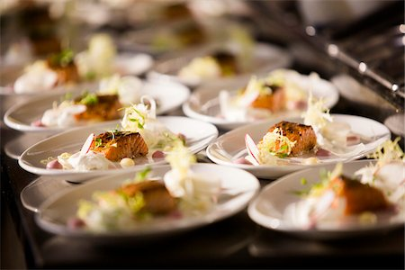event - Salmon Dinners ready to be Served at Wedding Reception Stock Photo - Premium Royalty-Free, Code: 600-07991587