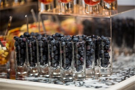 event - Close-up of Blueberries in Shot Glasses on Dessert Table Stock Photo - Premium Royalty-Free, Code: 600-07991656