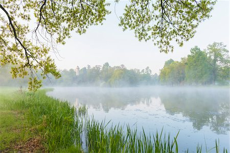 scenic and spring (season) - Branches of Oak Tree and Lake in Early Spring, Park Schonbusch, Aschaffenburg, Lower Franconia, Bavaria, Germany Stock Photo - Premium Royalty-Free, Code: 600-08007013