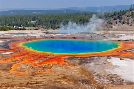 extreme terrain - Grand Prismatic Spring at Midway Geyser Basin, Yellowstone National Park, Teton County, Wyoming, USA Stock Photo - Premium Royalty-Free, Code: 600-08002210