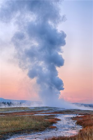 extreme terrain - Old Faithful Geyser Steaming at Dawn, Upper Geyser Basin, Yellowstone National Park, Teton County, Wyoming, USA Stock Photo - Premium Royalty-Free, Code: 600-08002224