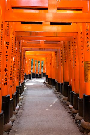 Torii Gates at Fushimi Inari Taisha, Fushimi, Kyoto, Kansai Region, Japan Stock Photo - Premium Royalty-Free, Code: 600-08002512