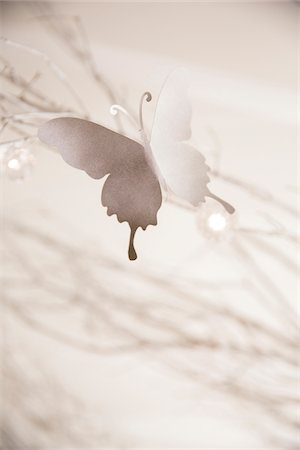 decoration - Close-up of white, paper cutout butterflies on sparkly branches, party decorations, Canada Stock Photo - Premium Royalty-Free, Code: 600-08002546
