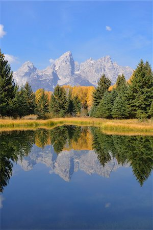 streams scenic nobody - Schwabacher Landing with Teton mountain range in background, autumn, Snake River, Jackson Hole, Grand Teton National Park, Wyoming, USA Stock Photo - Premium Royalty-Free, Code: 600-08026154
