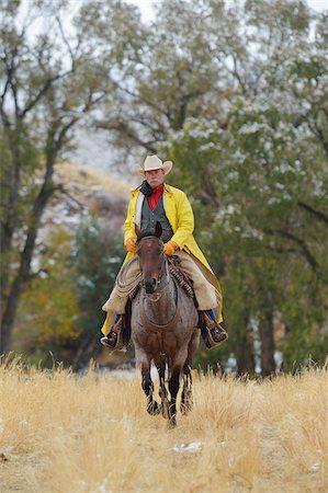 Cowboy Riding Horse, Rocky Mountains, Wyoming, USA Stock Photo - Premium Royalty-Free, Code: 600-08026191