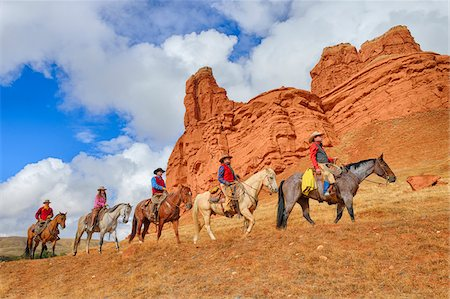 five animals - Cowboys and Cowgirls Riding Horses, Wyoming, USA Stock Photo - Premium Royalty-Free, Code: 600-08026203
