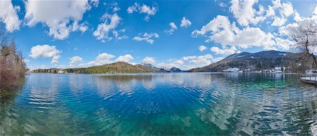 scenic and spring (season) - Panoramic of Fuschlsee with Mountains in the background in Early Spring, Austria Stock Photo - Premium Royalty-Free, Code: 600-08022746