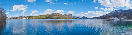 spring background - Panoramic of Fuschlsee with Mountains in the background in Early Spring, Austria Stock Photo - Premium Royalty-Free, Code: 600-08022747