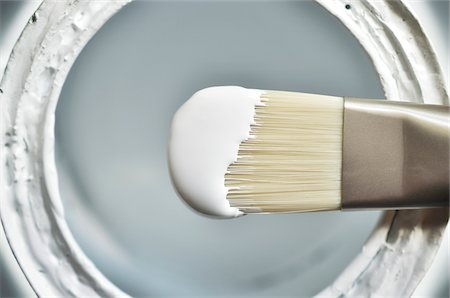 Close-up of Paint Brush with White Paint Stock Photo - Premium Royalty-Free, Code: 600-08078290