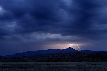 Lightning during Thuderstorm, Jackson, Grand Teton National Park, Wyoming, USA Stock Photo - Premium Royalty-Free, Code: 600-08082879
