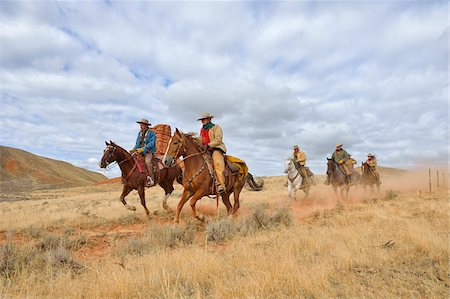 Cowboys and Cowgirls Riding Horses, Shell, Wyoming, USA Stock Photo - Premium Royalty-Free, Code: 600-08082907