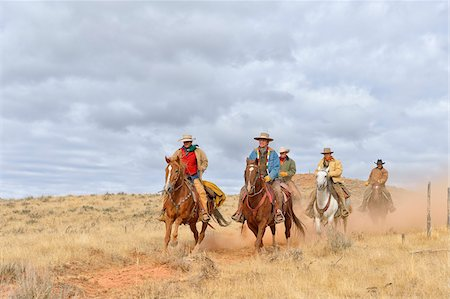 five animals - Cowboys and Cowgirl Riding Horses, Shell, Wyoming, USA Stock Photo - Premium Royalty-Free, Code: 600-08082908