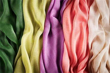 silk - Close-up of five colourful summer scarves, studio shot Stock Photo - Premium Royalty-Free, Code: 600-08107049