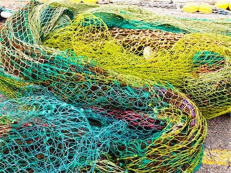 fishing - Colourful Fishnets, Cala Ratjada, Majorca, Balearic Islands, Spain Stock Photo - Premium Royalty-Free, Code: 600-08102882