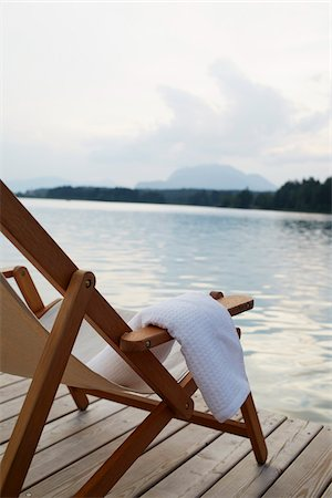 Deck Chair on Dock, Faaker See, Carinthia, Austria Stock Photo - Premium Royalty-Free, Code: 600-08138898