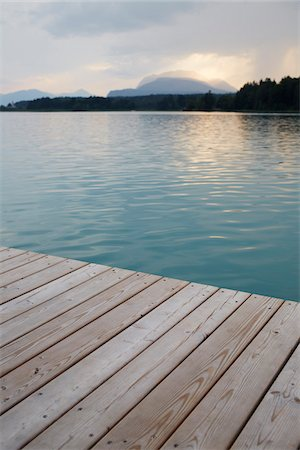 Dock at Sunset, Faaker See, Carinthia, Austria Stock Photo - Premium Royalty-Free, Code: 600-08138893