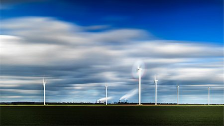 refinery - Wind turbines with factory in the background, Germany Stock Photo - Premium Royalty-Free, Code: 600-08171712
