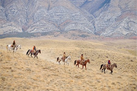 Cowboys and Cowgirls riding horse in wilderness, Rocky Mountains, Wyoming, USA Stock Photo - Premium Royalty-Free, Code: 600-08171754