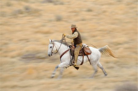 Blurred motion of cowboy on horse galloping in wilderness, Rocky Mountains, Wyoming, USA Stock Photo - Premium Royalty-Free, Code: 600-08171772