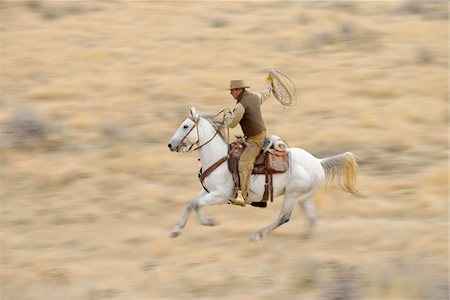 Blurred motion of cowboy on horse holding lasso galloping in wilderness, Rocky Mountains, Wyoming, USA Stock Photo - Premium Royalty-Free, Code: 600-08171781