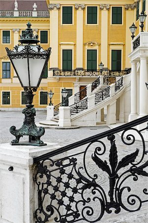 Close-up of Light Fixture and Railing, Schonbrunn, Vienna, Austria Stock Photo - Premium Royalty-Free, Code: 600-08212938