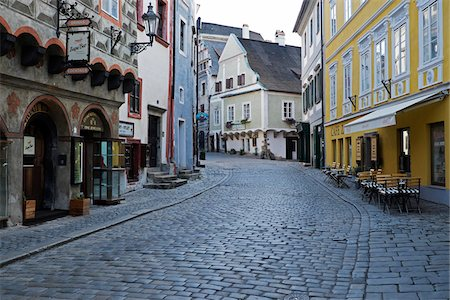 european - Cobblestone city street and historical buildings, Cesky Krumlov, Czech Replublic. Stock Photo - Premium Royalty-Free, Code: 600-08232177
