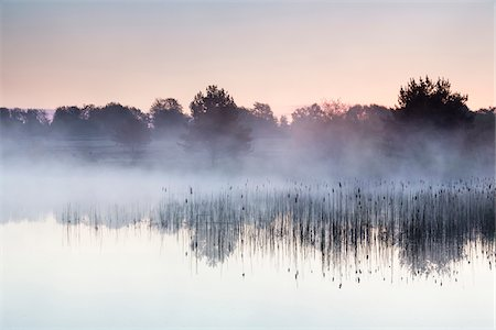 Morning Fog on Lake at Dawn in former Altenrath, Troidorf, Rhein-Sieg-Kreis, North Rhine-Westphalia, Germany Stock Photo - Premium Royalty-Free, Code: 600-08280336
