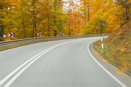 Road View from a Scenic Route in Autumn Forest, Spessart, Franconia, Bavaria, Germany Stock Photo - Premium Royalty-Free, Code: 600-08353460
