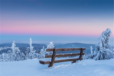 snow covered trees - Snow Covered Winter Landscape with Bench at Dawn, Grosser Feldberg, Frankfurt, Taunus, Hesse, Germany Stock Photo - Premium Royalty-Free, Code: 600-08353535