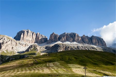 Scenic view of mountains and foothills, Sella Group from the famous path, Viel dal Pan, Dolomites, Trentino Alto Adige, Italy Stock Photo - Premium Royalty-Free, Code: 600-08386018