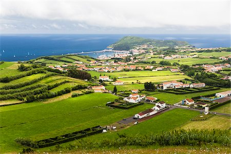 Pastureland, Volcano Hills and Flamengos, Horta, Faial Island, Azores, Portugal Stock Photo - Premium Royalty-Free, Code: 600-08540174