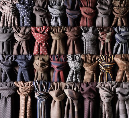 fabric - Close-up of rows of coloured and knotted scarves Stock Photo - Premium Royalty-Free, Code: 600-08542886