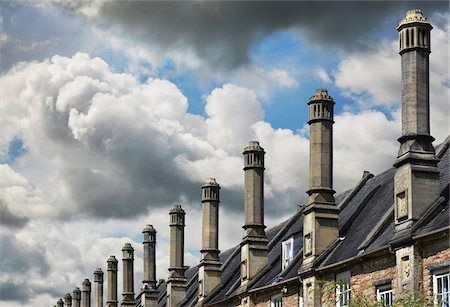 Row of Chimneys on Roofs of Houses, Wells, England, UK Stock Photo - Premium Royalty-Free, Code: 600-08683762