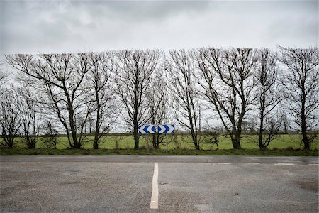 Paved road looking forward to row of bare trees and desd end road sign pointing in both directions in Finistere, Brittany, France Stock Photo - Premium Royalty-Free, Code: 600-08765579