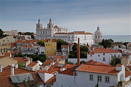 portuguese (places and things) - Monastery of Sao Vicente de Fora in Cityscape of Lisbon, Portugal Stock Photo - Premium Royalty-Free, Code: 600-08770134