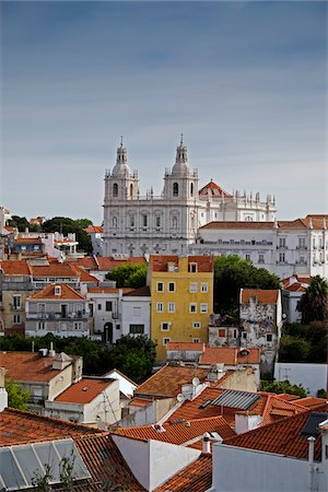 portuguese (places and things) - Monastery of Sao Vicente de Fora in Cityscape of Lisbon, Portugal Stock Photo - Premium Royalty-Free, Code: 600-08770135
