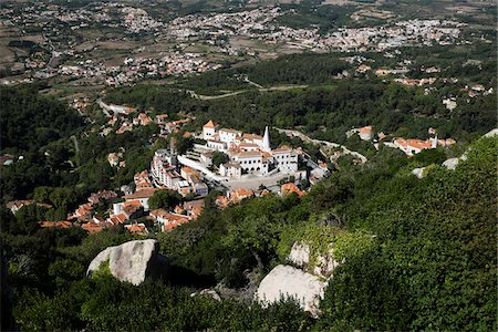 portuguese (places and things) - Aerial View of National Palace of Sintra, Portugal Stock Photo - Premium Royalty-Free, Code: 600-08770131