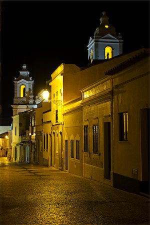portuguese (places and things) - Bell Towers of Igreja de Santo Antonio at Night, Lagos, Portugal Stock Photo - Premium Royalty-Free, Code: 600-08770150