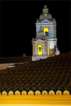 portuguese (places and things) - Bell Towers of Igreja de Santo Antonio at Night, Lagos, Portugal Stock Photo - Premium Royalty-Free, Code: 600-08770151