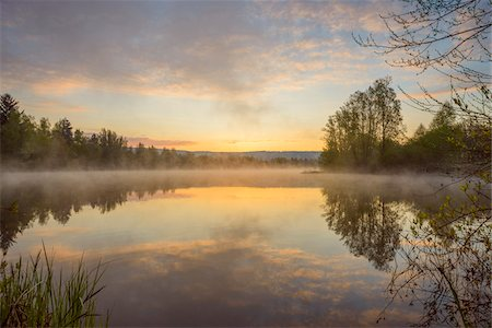 Pastel sky reflected in lake with morning mist at dawn in Mondfeld, Wertheim in Baden-Wurttemberg, Germany Stock Photo - Premium Royalty-Free, Code: 600-08916150